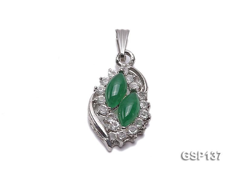 15x20mm Green Jade Cabochon Pendant with Zircon