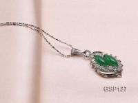 15x20mm Green Jade Cabochon Pendant with Zircon