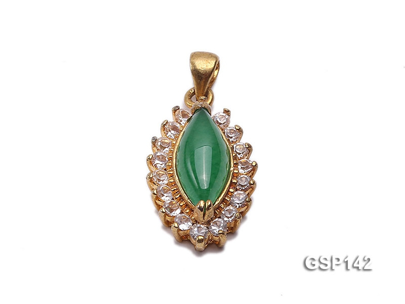 12x17mm Green Jade Cabochon Pendant with Zircon