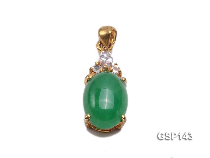 10x20mm Green Jade Cabochon Pendant with Zircon