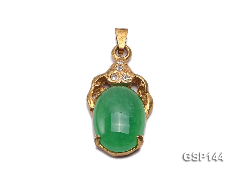 16x26mm Green Jade Cabochon Pendant with Zircon
