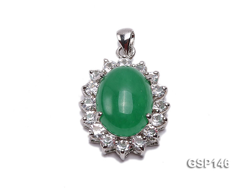 18x22mm Green Jade Cabochon Pendant with Zircon