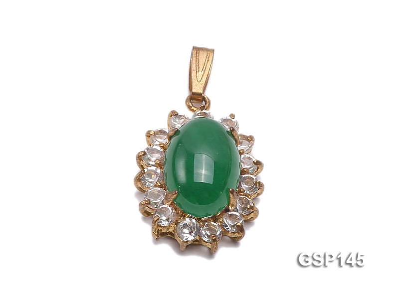 16x20mm Green Jade Cabochon Pendant with Zircon