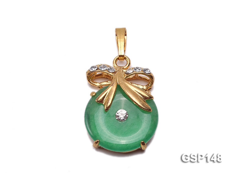 13x18mm Green Jade Cabochon Pendant with Zircon