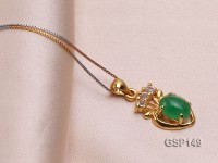 11x17mm Green Jade Cabochon Pendant with Zircon