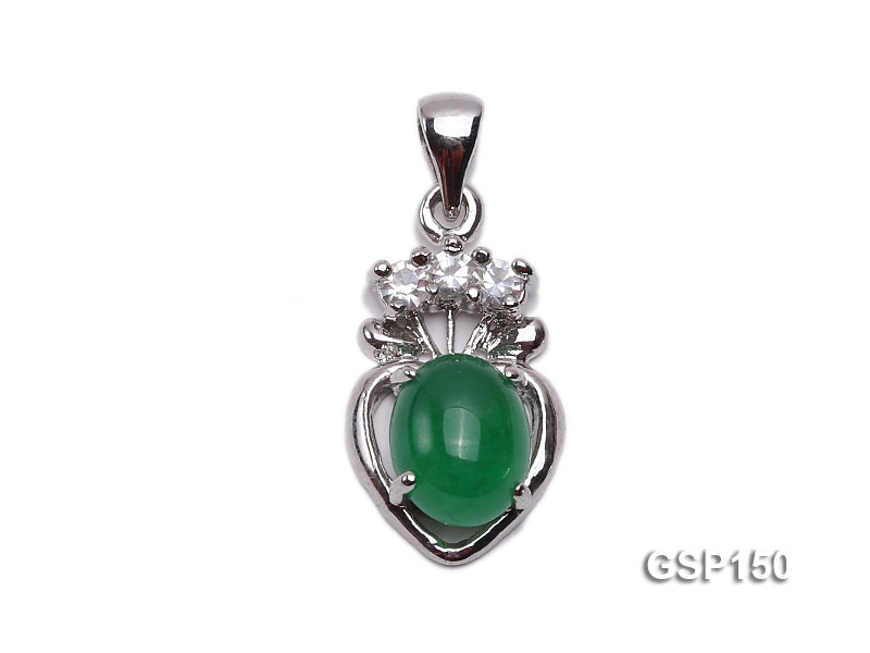11x17mm Green Jade Cabochon Pendant with Zircon