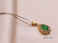 11x14mm Green Jade Cabochon Pendant with Zircon