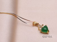 9x14mm Green Jade Cabochon Pendant with Zircon