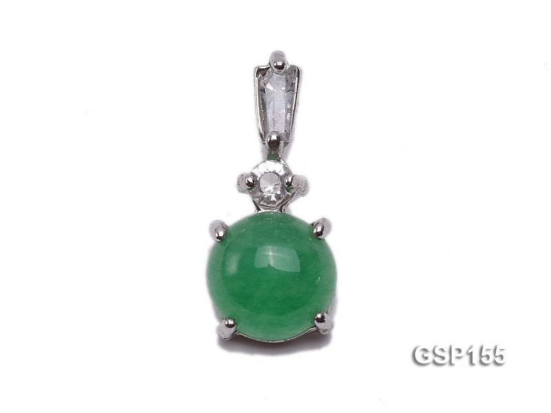 8x18mm Green Jade Cabochon Pendant with Zircon