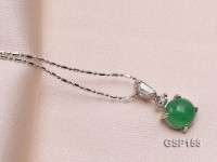 8x18mm Green Jade Cabochon Pendant with Zircon