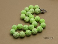 16mm Green Round Carved Tridacna Beads Necklace