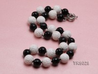 16mm Round Carved Tridacna Beads Necklace