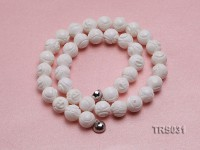 14mm Round Carved Tridacna Beads Necklace