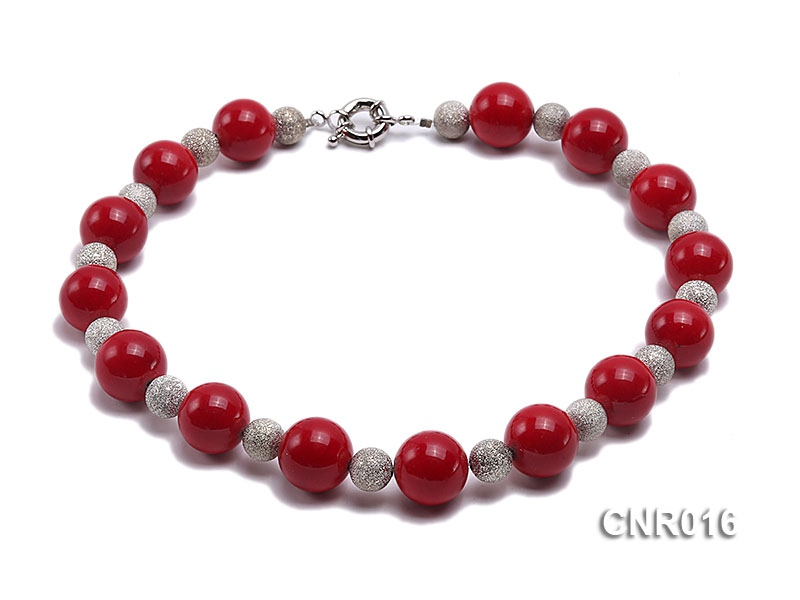 20mm Red Round Coral Necklace