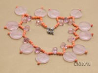 5mm Orange Round Coral Necklace with Rose Quartz Pieces and Beads