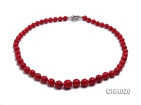 8-13mm Red Round Coral Necklace