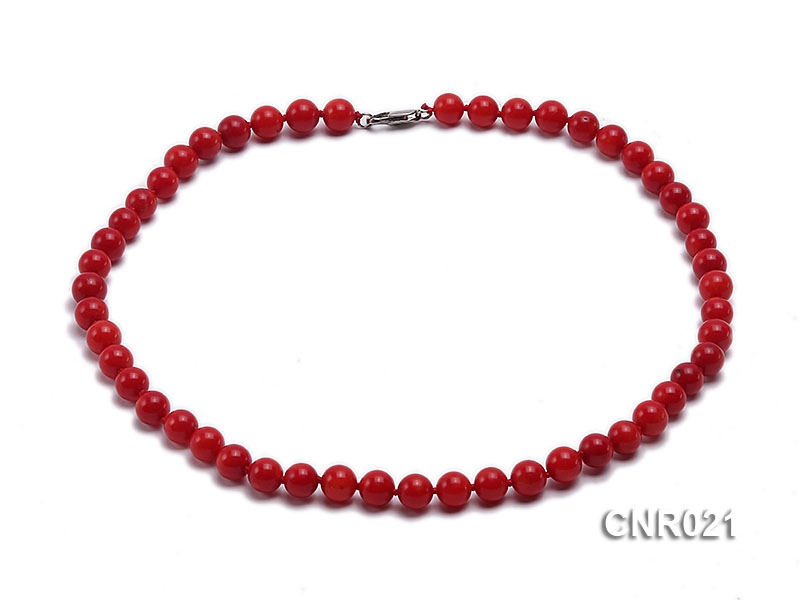 7mm Red Round Coral Necklace