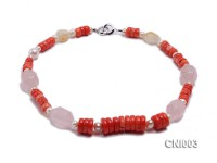 9x5mm Red Irregular Coral Necklace