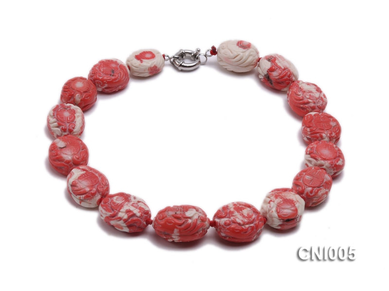 22x20x14mm Red Carved Coral Necklace