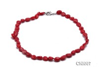 4x10mm Red Irregular Coral Necklace