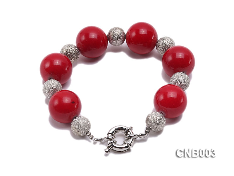 20mm Round Red Coral Bracelet