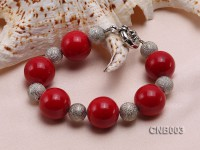 20mm Round Red Coral Bracelet