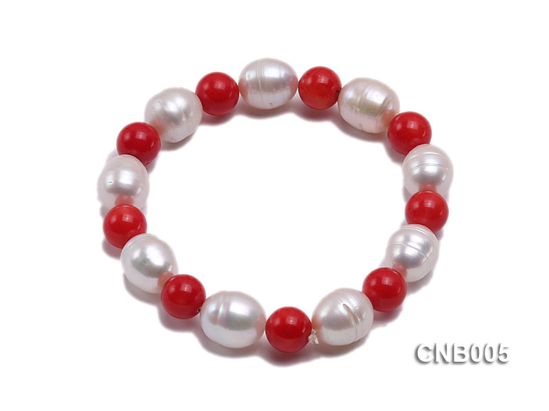 9mm Round Red Coral and White Pearl Bracelet