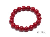 11mm Red Round Coral Bracelet
