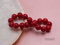 11mm Red Round Coral Bracelet
