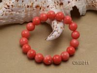 10mm Orange Round Coral Bracelet