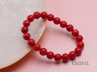 9mm Round Red Coral Bracelet