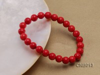 8mm Round Red Coral Bracelet