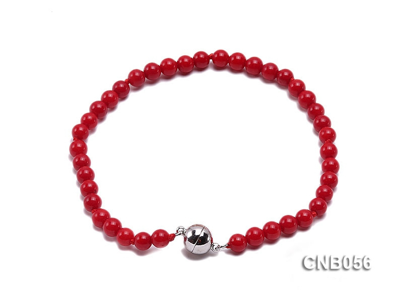 5mm Round Red Coral Bracelet