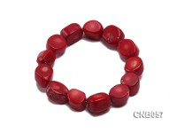15x13x7mm Red Irregular Coral Bracelet
