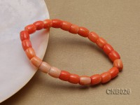 9x8mm Drum-shaped Coral Bracelet