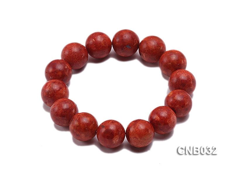 14mm Red Round Sponge Coral Bracelet