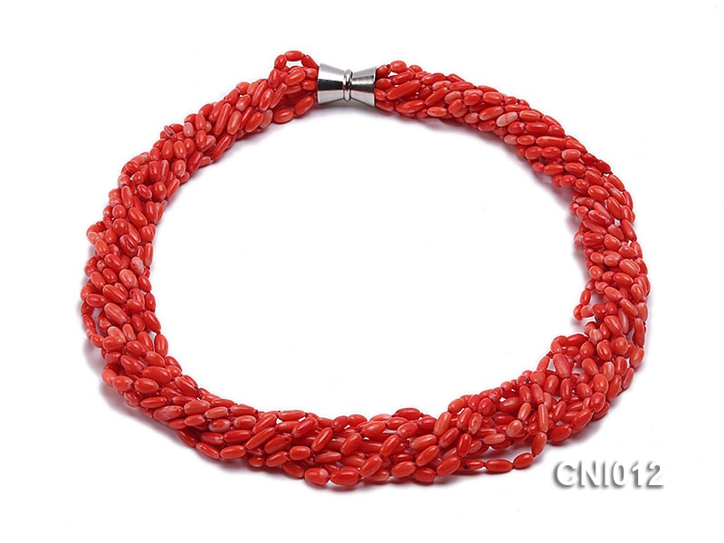 8x5mm Red Shuttle-Shaped Coral Necklace