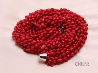9x6mm Red Shuttle-Shaped Coral Necklace