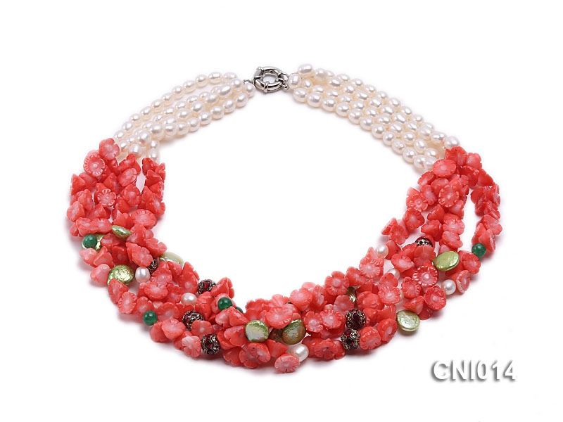 7x10mm Red Carved Flower Coral Necklace