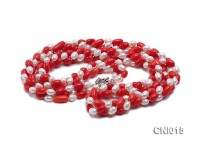 Three-strand 12x7mm Oval Red Coral and White Pearl Necklace