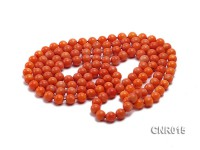 9mm Orange Round Coral Necklace