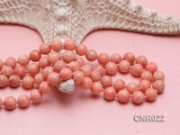 9mm Pink Round Coral Necklace