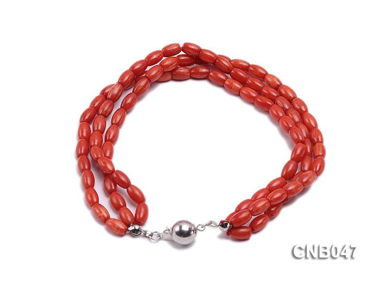 7x4mm Red Coral Bracelet