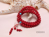 7mm Red Round Coral Beads Bracelet