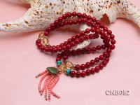 6mm Red Round Coral Beads Bracelet