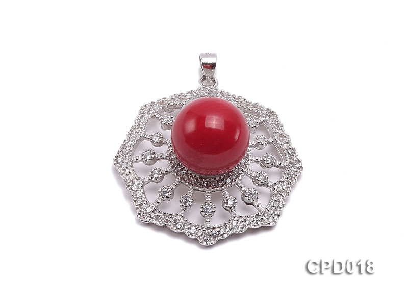 30x30mm Red Coral Pendant