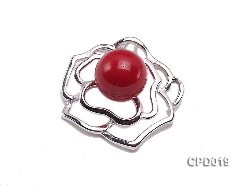 28x28mm Red Coral Pendant