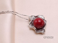 30x22mm Red Coral Pendant in Silver Holder