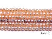 Wholesale  5.5×6.5mm pink Flat Pearl String