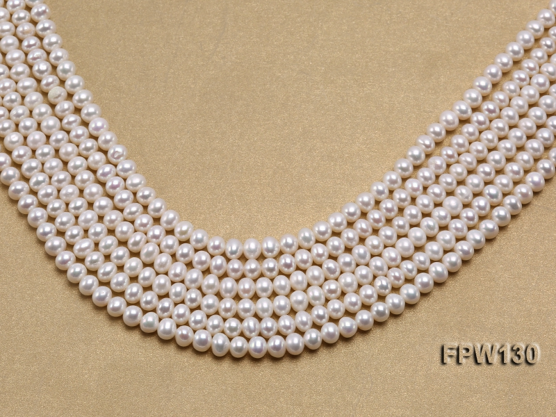 Wholesale  5.5×6.5mm   Flat Round Pearl String